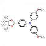 Structure of 4-Methoxy-N-(4-methoxyphenyl)-N-(4-(4,4,5,5-tetramethyl-1,3,2-dioxaborolan-2-yl)phenyl)aniline CAS 875667-84-8